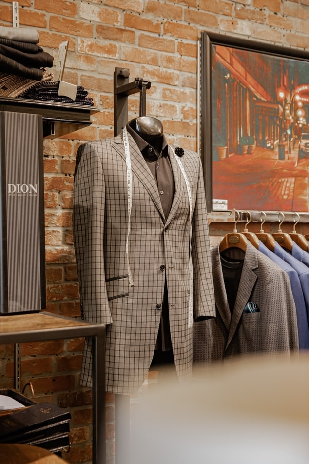 Display of 2 piece suit in a store